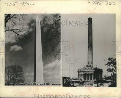 1945 Press Photo Washington Monument in Washington, D.C. and a Proposed Concept