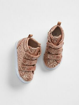 a6061c14dfeb0 SZ 6 7 8 10 BABY GAP Kids Rose Gold Glitter high Top Ankle Sneakers Toddler