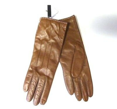 $98 COACH Women's Cashmere Lined Leather Basic 6.5 Tobacco brown  gloves 83875