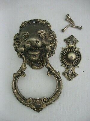 vintage LION HEAD metal DOOR KNOCKER
