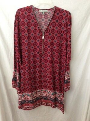 NWT Almost Famous Long Sleeve Quarter-Zip Dress ~ Large ~ Wine/Blue/White Print