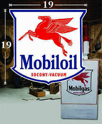 """19"""" x 19"""" Mobil Oil Mobiloil Shield Gas Decal Lubester Oil Pump Can Restoration"""