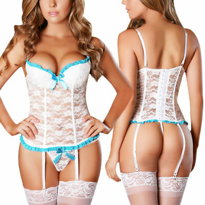 White Women Exotic Floral Lace Camisole Sleepwear Garter Belt Sexy Lingerie Set