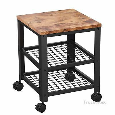 3-TIER ROLLING CART Kitchen Utility Cart with Storage Wood Accent Furniture  MDF