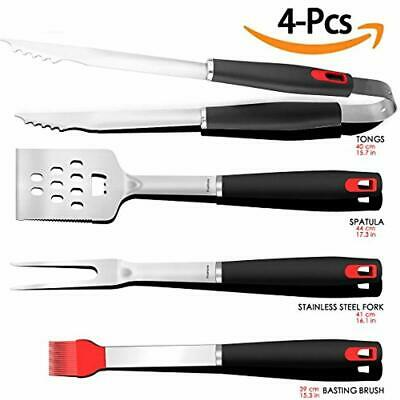 Spatula Tongs KANGORA BBQ Grill Tools Set with 4-Piece Barbecue Accessories Premium Heavy Duty Stainless Steel Starter Grilling Utensils Tool Kit Fork 4 Piece Set and Basting Brush