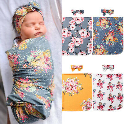 2Pcs Newborn Baby Floral Snuggle Swaddling Wrap Blanket Sleeping Bag Swaddle UK
