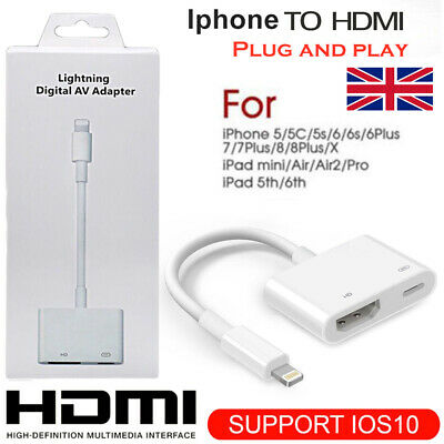 Lightning to HDMI Digital TV AV Adapter Cable For Apple iPad iPhone X 8 7 6 Plus
