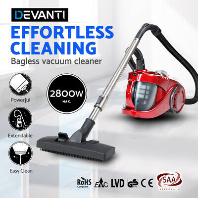 Bagless Cyclone Cyclonic Vacuum Cleaner HEPA Filter Red 2800W Filtration
