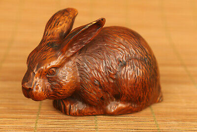 Lovely chinese old boxwood hand carved rabbit statue figure collectable