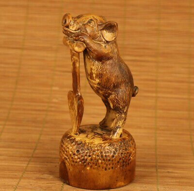 Lovely chinese old boxwood hand carved pig statue figure collectable gift