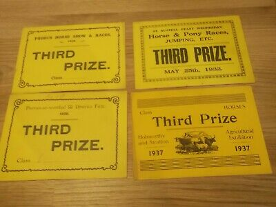 4 X 1920S/1930S Cornish Horse Show  Prize Certificates - All Shown & Detailed