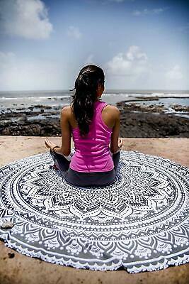 Indian Gray Ombre Mandala Round Tapestry Beach Throw Cotton Roundie Table Cover
