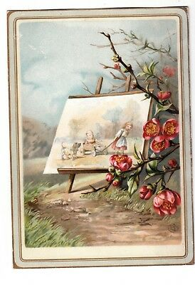Easel with Painting on Pathway Pink Flowers No Advertising Vict Card c1880s