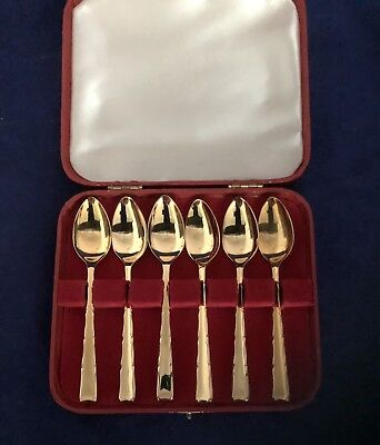 Boxed Set Of Gold Plated Tea Spoons By Smith Seymore In The Kenilworth Design