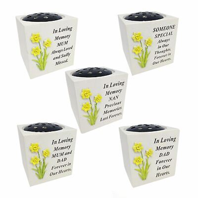 Memorial Ornament Graveside Tribute Flower Vase Rose Bowl Verse Daffodil Family