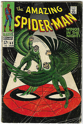 "Dated 1968. Early ""The AMAZING SPIDER-MAN"" Marvel comic Vol.1 #63. VG."