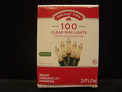 1 Box Holiday Time 100 Clear White Mini Lights Green Wire Wedding Party Craft