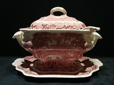 Vintage MASONS Ironstone LARGE Soup Tureen Under Plate Lid Ladle Vista Red Pink