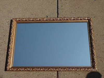 "Vintage 23-1/2"" x 35-1/2"" Gold Gilt Ornate Wood Hollywood Regency Wall Mirror"