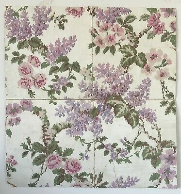 Beautiful Antique 19th C. French Gouache Floral Textile Painting  (9007 )