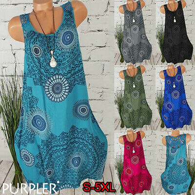 Women Plus Size Mini Dress Summer Holiday Ethnic Casual Loose Sundress Vest Tops