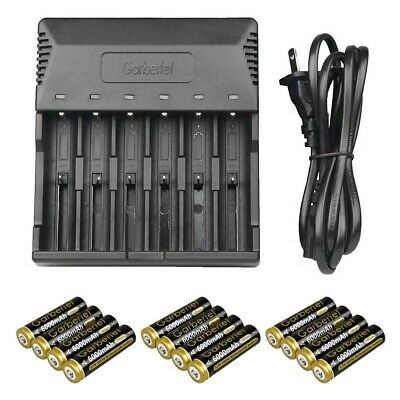 8x Garberiel 3.7V Li-ion 5000mAh 18650 Rechargeable Battery Batteries+US Charger