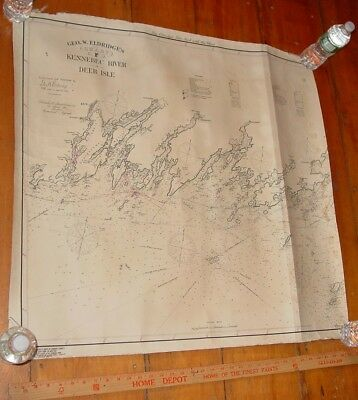 1904 Eldridge Linen Back Chart Kennebec River to Deer Isle - ALTERED
