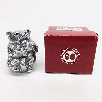 Arthur Court Solid Aluminum Bear Paperweight Red Carnelian Stone Eyes With Box