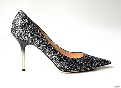 21ffffdfc7f NEW $995 JIMMY CHOO Agnes black silver GLITTER pointy toe ombre heel shoes  38 8