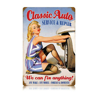 CLASSIC CAR PIN UP GIRL Schild 44,5cm MOPAR V8 MUSCLE HEMI USA HOT ROD Mobilgas