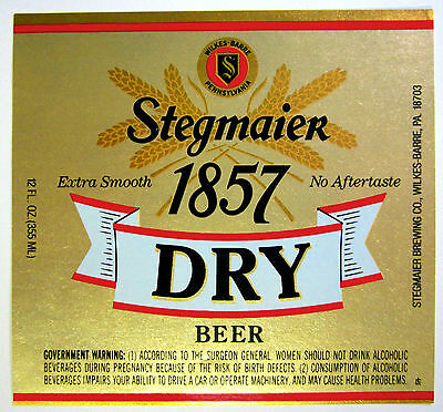 Stegmeier Brewing Co. STEGMAIER 1857 DRY BEER label PA 12 oz.
