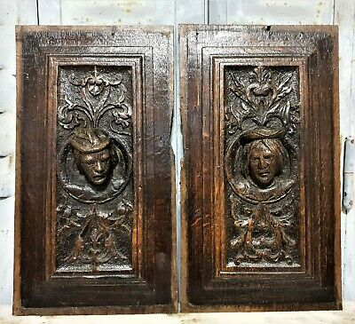 16 th Pair renaissance portrait panel Antique french oak architectural salvage