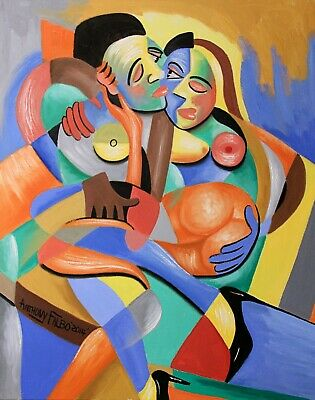 Four Play Original Painting Love Romance Together Cubestraction Anthony Falbo