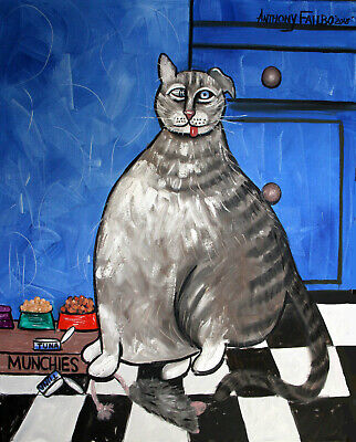 My Fat Cat On Medical Catnip Original Painting Cat Tuna Food Anthony R Falbo