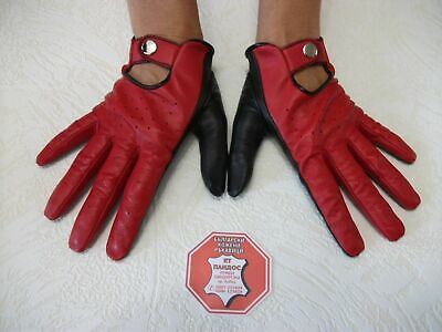 Red Real Soft Goatskin Italyan  Leather  Driving  Gloves  Size 7, 7.5, 8 , 8,5
