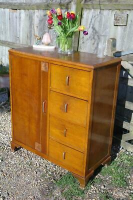 Vintage Art Deco Chest Of Drawers Tall Boy Linnen Cabinet With Bakelite 30s Chic