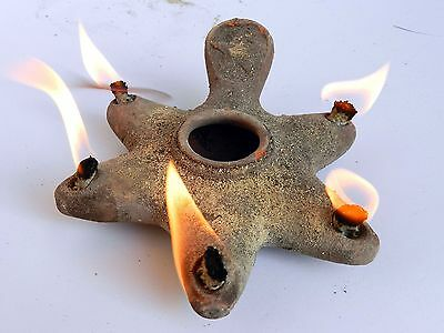 Biblical Jerusalem Oil lamp Holy Land Antique Roman Clay Pottery 5 wicks