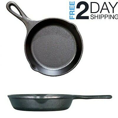 Small Cast Iron Skillet For Eggs Steak Camping Mini Lodge Frying Pan 6.5 Inch
