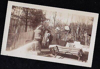 Old Vintage Antique Photograph Woman Hanging Laundry on Line