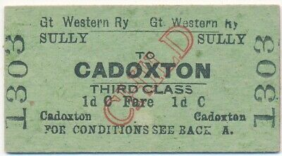 GWR - SULLY to CADOXTON railway ticket 1303