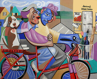 Bicycle Built For Three Original Painting Married Couple Dog Anthony R Falbo