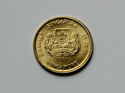 Singapore 1989 5 CENTS Coin UNC with Lustre & Small 17mm Size