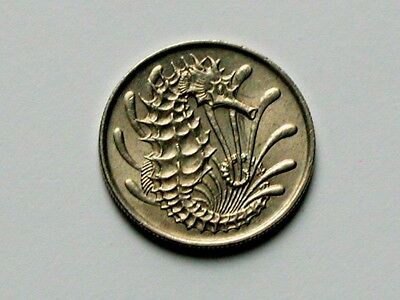 Singapore 1971 10 CENTS Coin AU+ with Toned-Lustre & Seahorse (Ocean Animal)