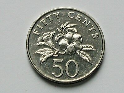 Singapore 1995 50 CENTS Coin with Yellow Allamanda Flower