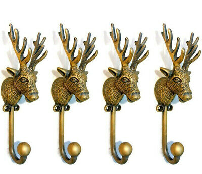 """4 small REINDEER stag horns HOOKS solid BRASS old hook aged style 6 """" Deer B"""