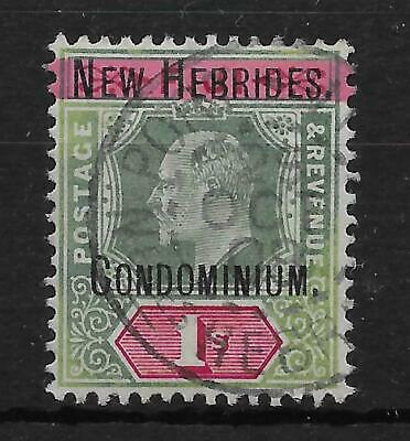 New Hebrides Sg9 1908 1/= Green & Carmine Wmk Crown Ca Used