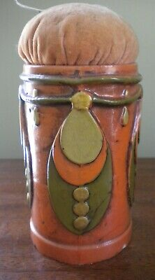 Colorful Period Arts and Crafts Art Deco Unusual Pin Cusion Hand Painted