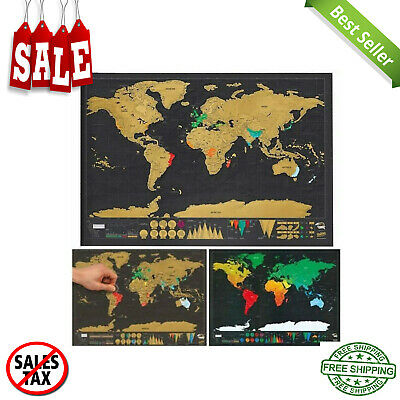 Travel Scratch Off Map Personalized Deluxe World Map Scratch Off F Layer Coatin