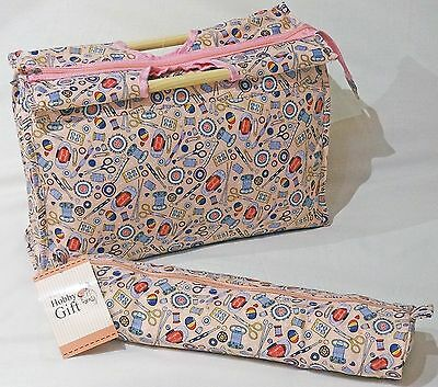 Knitting Bag / Sewing Bag with Matching Needle Holder 100% Cotton Notions Design