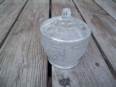 Vintage CLEAR Glass Candy Compote Sugar Bowl w Lid Starburst X Design Exc. Cond.